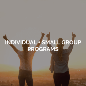 Individual + small group programs image of two friends with thumbs up.