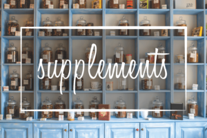 "image says ""supplements"" over an image of shelves filled with jars of tea"