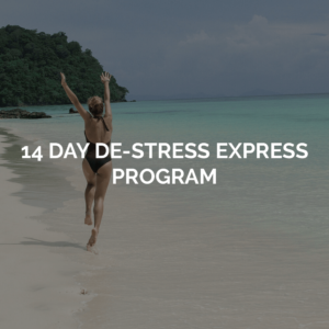 14 day destress express program, image of woman happily walking along the beach