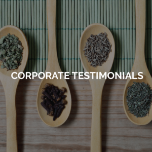 Corporate testimonials - image of spoons with spices