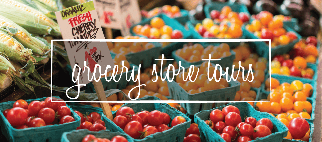"Image of tomatoes. Image says ""grocery store tours"""