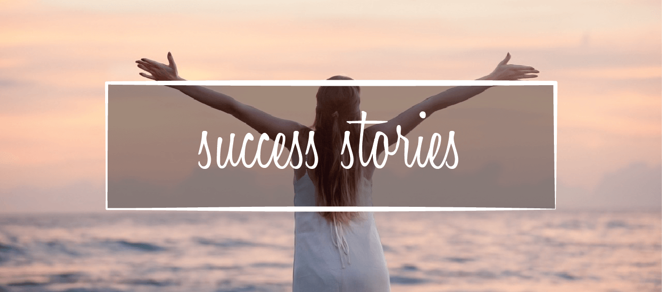 "Image of women with arms stretched out. Image says ""Success stories"""