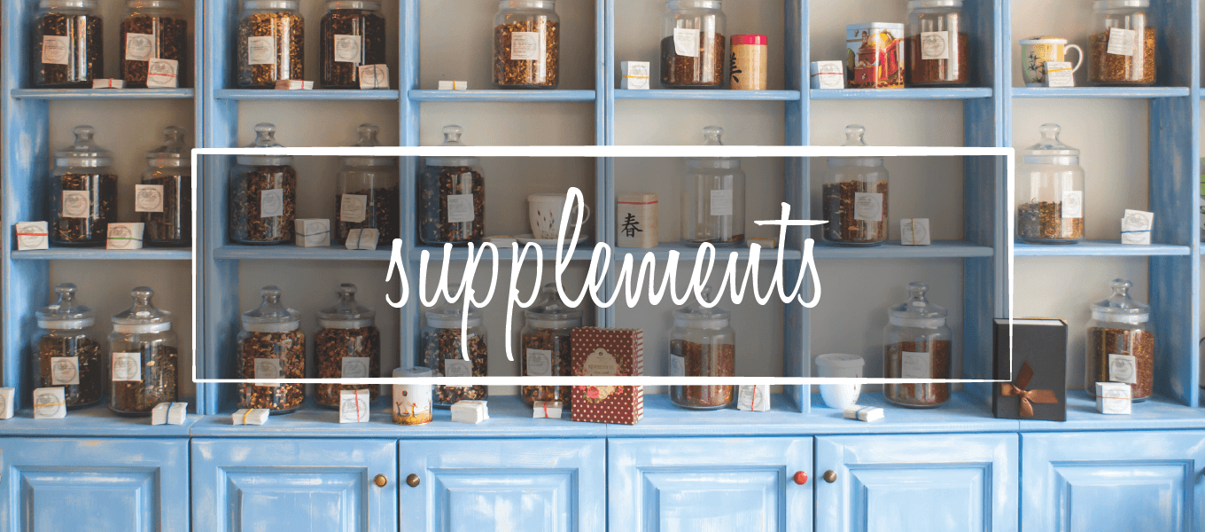 "Image of shelves holding jars of tea. Image says ""supplements"""