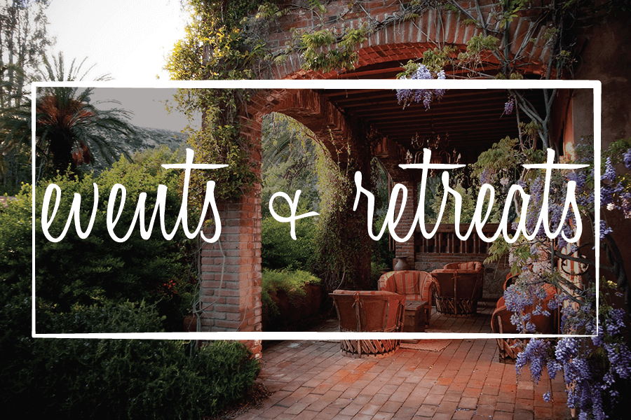 image says: events + retreats over a pic of the ranch